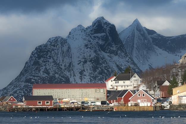 Mooi landschap van het eiland lofoten in de winter