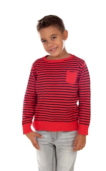 Mooi latijns kind met rood gestreept overhemd