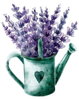 Mooi lavendelboeket in gieter met hart. handgetekende illustratie in provance-stijl