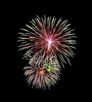 Mooi licht voor de viering van feestelijk kleurrijk vuurwerk op de nachtelijke hemel