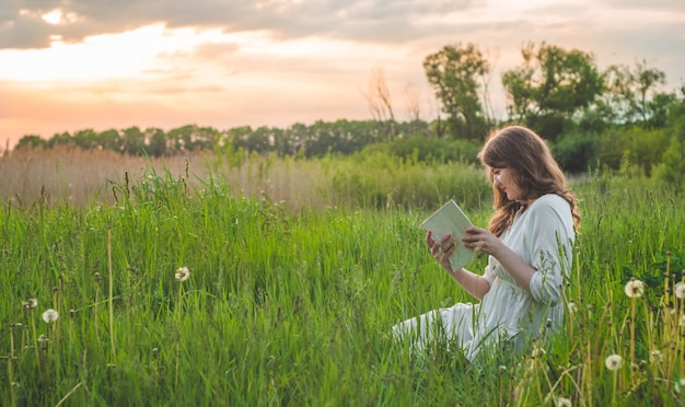 Mooi meisje dat op gebied een boek leest. het meisje, zittend op een gras, een boek lezen. rust en lees