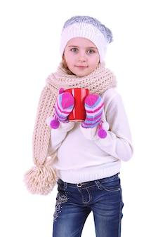 Mooi meisje dat rode kop op wit houdt Premium Foto