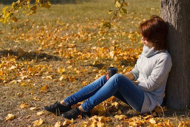 Mooi meisje in de herfstbosvrouw zit in de buurt van een boom in een herfstpark op een zonnige dag in ak
