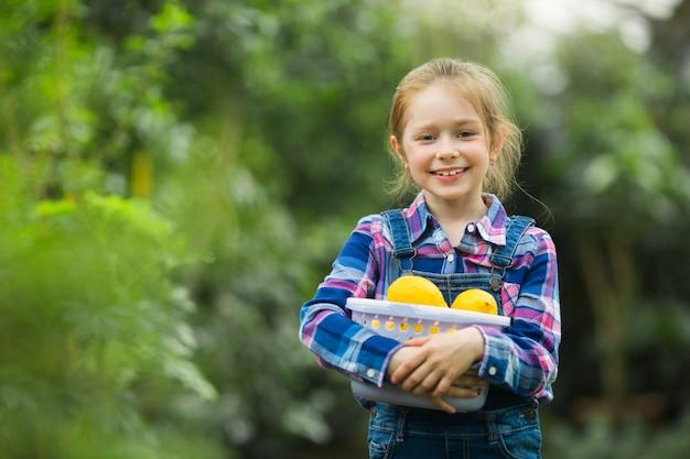Mooi meisje in de serre tuin met een mand met citroenen in hun handen