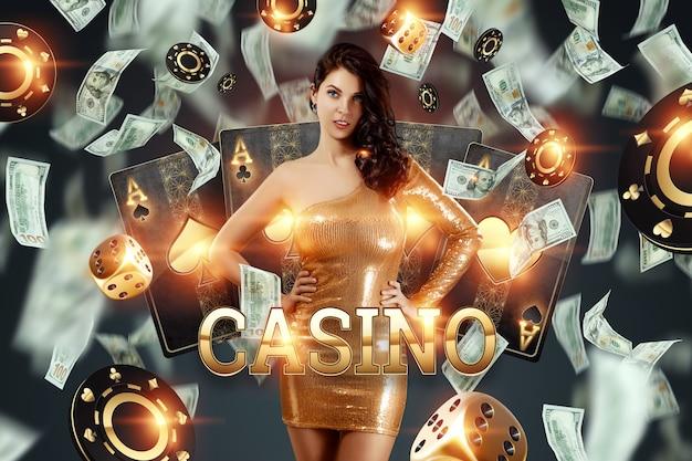 Mooi meisje op de achtergrond van casino atrebutics en dalende dollars. winnen, casino-advertentiesjabloon, gokken, vegas-spellen, wedden.