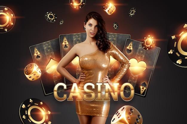 Mooi meisje op de achtergrond van de gouden casino atrebutics. winnen, casino-advertentiesjabloon, gokken, vegas-spellen, wedden.