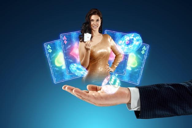 Mooi meisje op de achtergrond van neon casino atrebutics. winnen, casino-advertentiesjabloon, gokken, vegas-spellen, wedden.