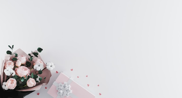 Mooi modern boeket van pioenen met roze huidige doos met wit lint op witte achtergrond.
