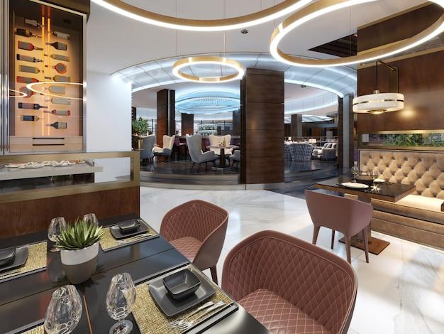 Mooi nieuw en leeg luxe restaurant in europese stijl. 3d-rendering