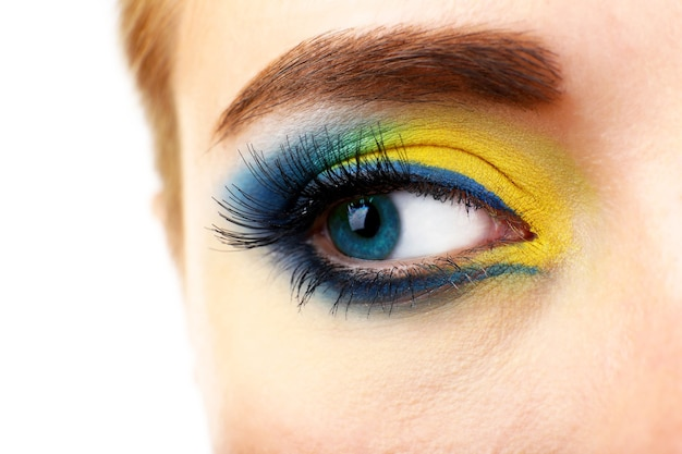 Mooi oog met lichte make-up, close-up
