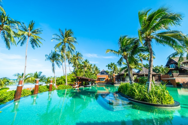 Mooi openlucht zwembad met kokosnotenpalm
