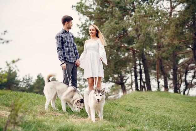 Mooi paar in een de zomerbos met honden
