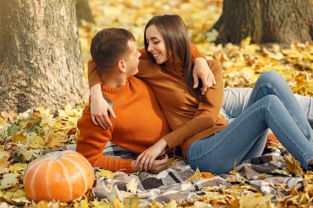 Mooi paar tijd doorbrengen in een herfst veld