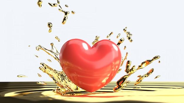 Mooi rood hart op gouden vloeistof, valentine-dagconcept