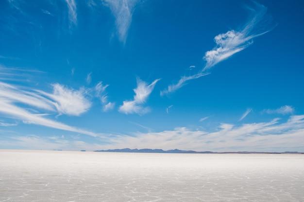 Mooi schot van de zoutvlakte in isla incahuasi, bolivia