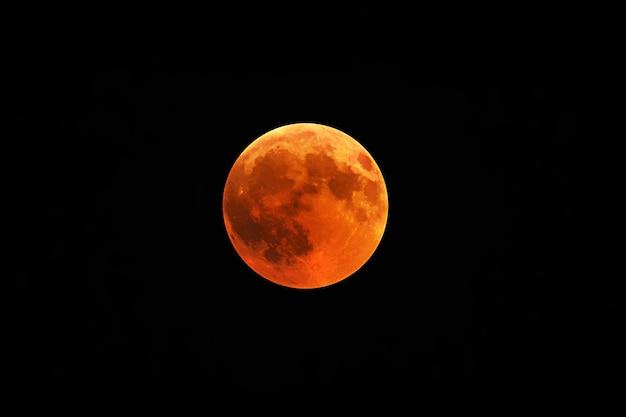 Mooi schot van een rode maan met een zwarte nachthemel