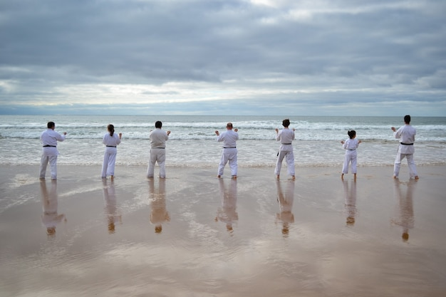 Mooi schot van karatespelers die bij de kust oefenen