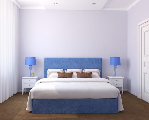Mooi slaapkamerbinnenland. 3d render. foto's aan de muur zijn gemaakt door mij.