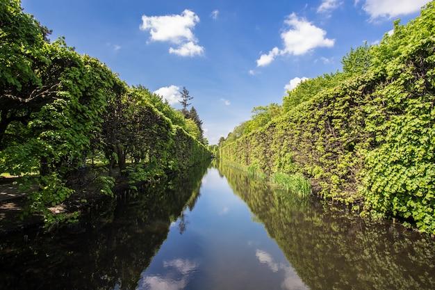 Mooi steegje met een rivier met de reflecties van de bomen in gdansk, polen