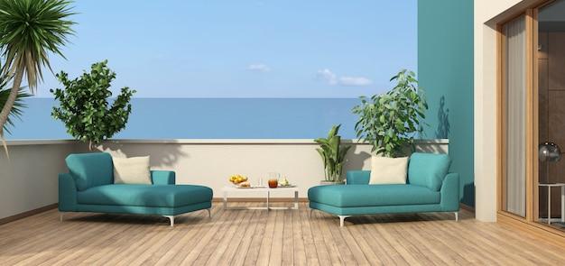 Mooi terras met uitzicht op de zee met ligstoelen - 3d-rendering