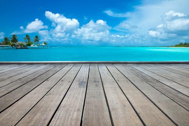 Mooi tropisch eiland van de maldiven met strand, zee en kokospalm op blauwe hemel