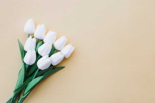 Mooi tulpenboeket op pastelkleur gele achtergrond