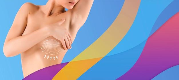 Mooi vrouwelijk lichaam geïsoleerd op veelkleurige achtergrond concept van lichaamsverzorging en tillen correctie