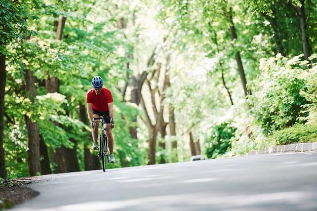 Mooi weer. fietser op een fiets is op de asfaltweg in het bos op zonnige dag