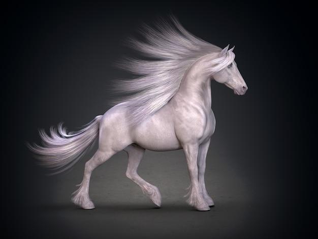 Mooi wit paard 3d-rendering
