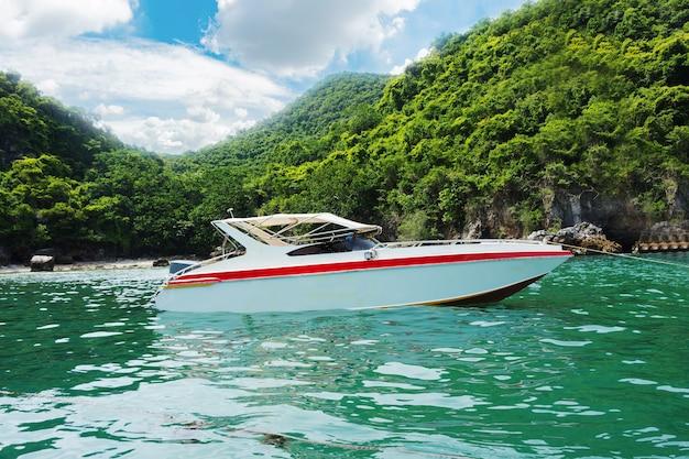 Mooi zeegezicht met snelheidsboot
