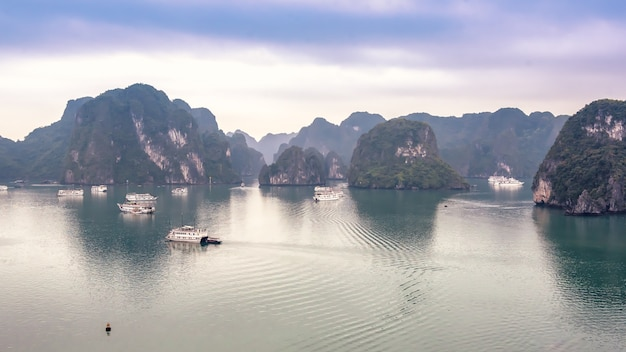 Mooi zeegezicht met toeristenboten in halong-baai