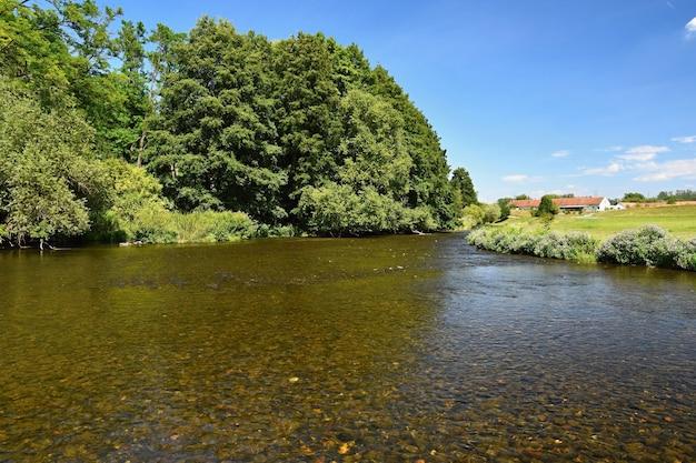 Mooi zomerlandschap met rivier, bos, zon en blauwe lucht. natuurlijke achtergrond.