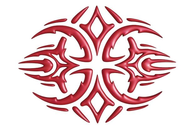 Mooie 3d illustratie met kleurrijk rood kwaad eng patroon dat op de witte achtergrond wordt geïsoleerd