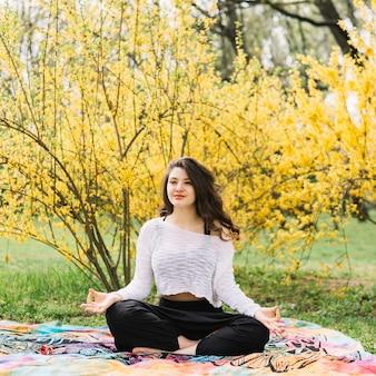 Mooie aantrekkelijke vrouw die yoga in park doet
