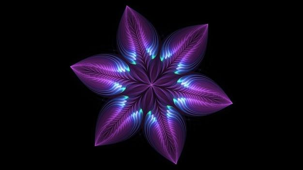 Mooie abstracte 3d gekleurde bloem, gloeiende bloemblaadjes op een zwarte achtergrond. 3d render