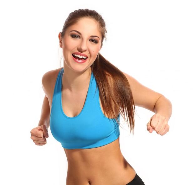 Mooie actieve vrouw in fitness slijtage