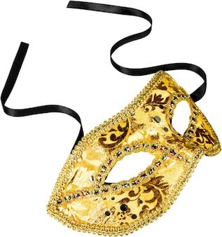 Mooie afbeelding van een gouden carnavalsmasker op wit