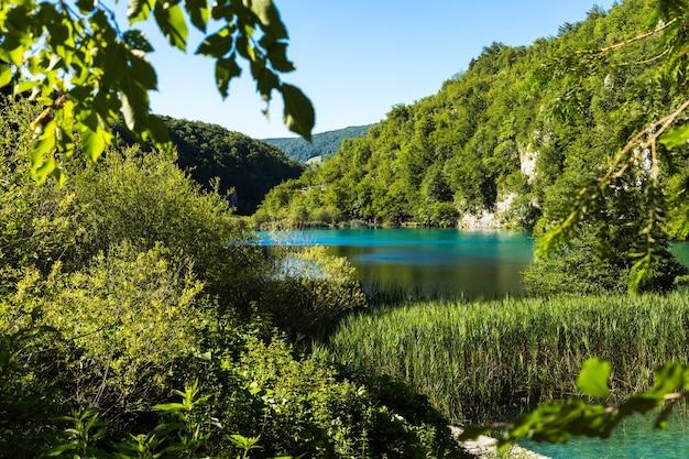 Mooie ansichtkaart met uitzicht op de meren plitvice nationaal park van kroatië