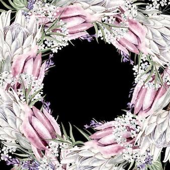 Mooie aquarel krans met witte bloemen in ronde vorm op zwarte achtergrond close-up