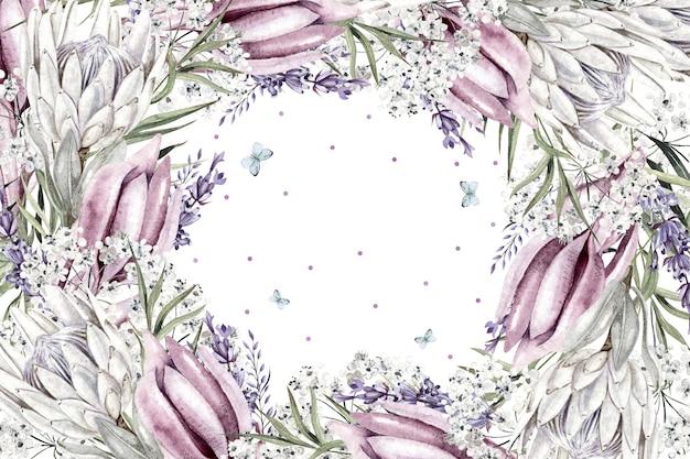 Mooie aquarel witte bloemen frame op witte achtergrond