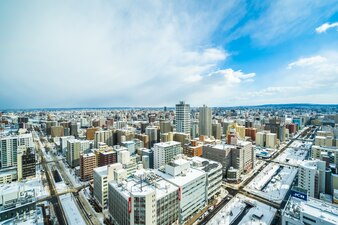 Mooie architectuur de bouwcityscape van de stad van Sapporo