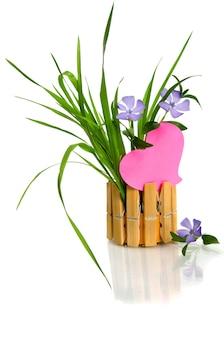 Mooie blauwe bloem en roze hart geïsoleerd op wit