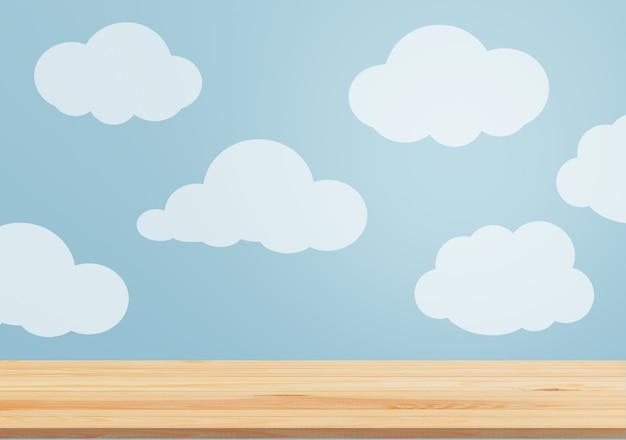 Mooie blauwe muur met wolken en leeg wit tafelblad in schattige kinderkamer - afbeelding