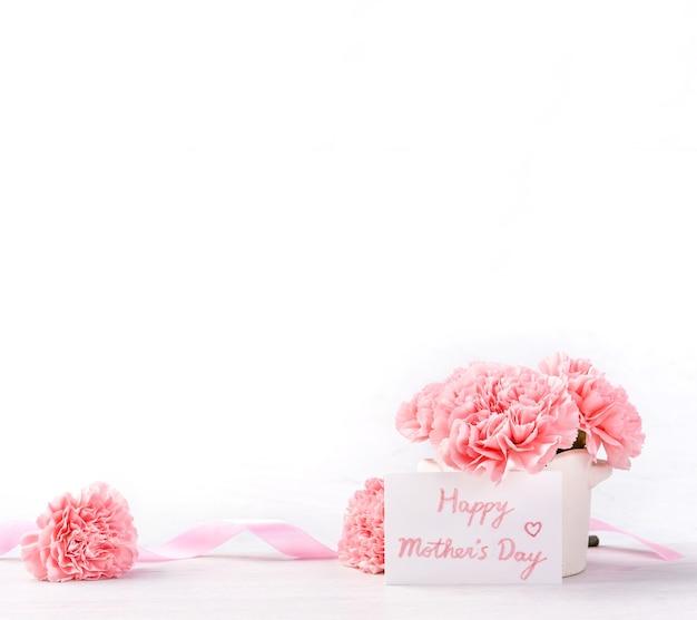 Mooie bloeiende baby roze tedere anjers in een witte vaas geïsoleerd op een lichte achtergrond, mei moeders dag groet moeder ideeën concept fotografie, close-up, kopie ruimte