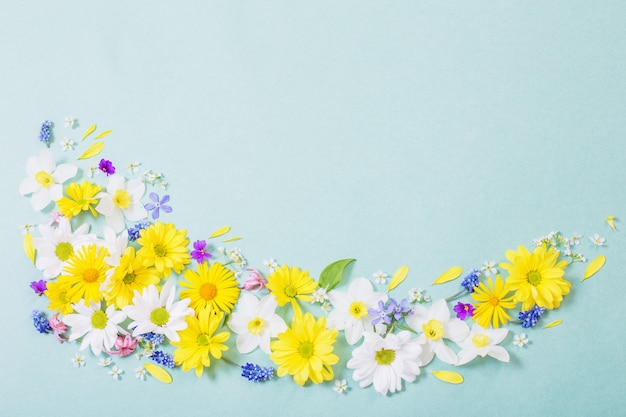Mooie bloemen op blauw papier achtergrond