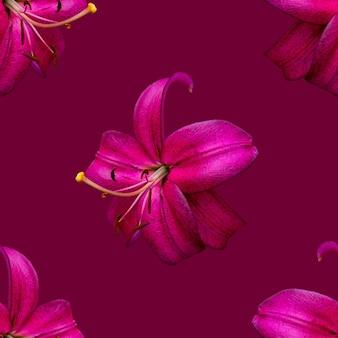 Mooie bloemen roze lelies. naadloze patroon van lily bloem bloeien. bloemen natuurlijke achtergrond.