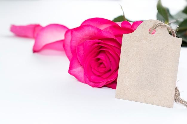 Mooie bloemen roze roos en een label voor het schrijven van felicitaties
