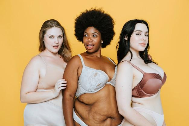 Mooie bochtige vrouwen met een goed lichaamsbeeld