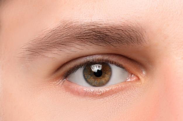 Mooie bruine dichte omhooggaand van het mensenoog