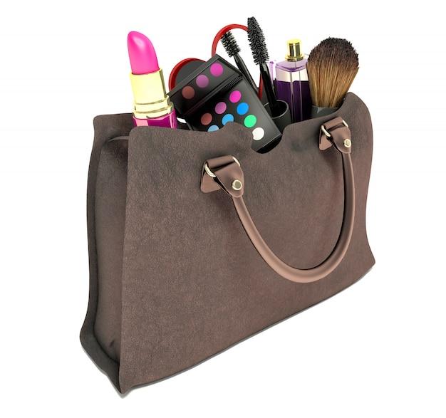 Mooie bruine make-up tas en cosmetica geïsoleerd op wit